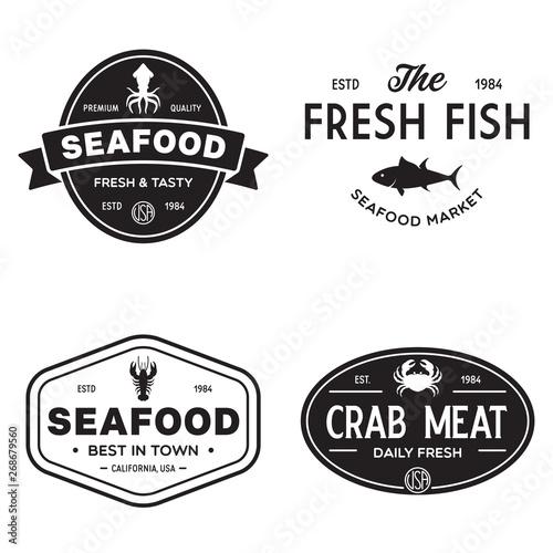 Seafood Restaurant Logos Set Vector Illustration Market And