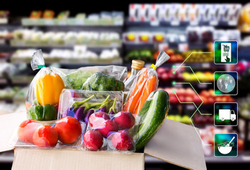 Online order grocery shopping concept. Food delivery ingredients service at home for cooking with packages box and icon media on supermarket background for lifestyle in city.