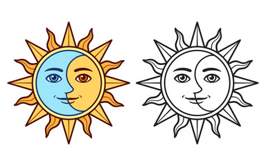 Stylized sun and moon