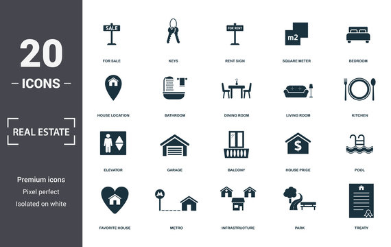 Real Estate icons set collection. Includes simple elements such as For Sale, Keys, Rent Sign, Square Meter, Bedroom, Garage and Balcony premium icons