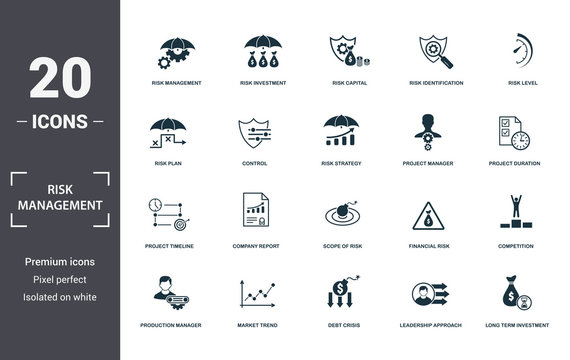 Risk Management icons set collection. Includes simple elements such as Risk Management, Risk Investment, Risk Capital, Risk Identification, Risk Level, Company Report and Scope Of Risk premium icons