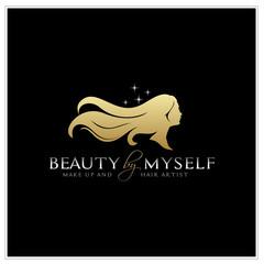 Beautiful Woman with Long Hair silhouette logo design inspiration