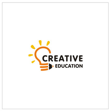 Creative Education logo design with Lightbulb and Pencil