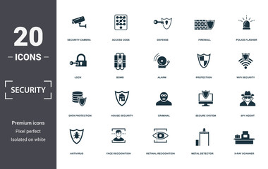 Security icons set collection. Includes simple elements such as Security Camera, Access Code, Deffense, Firewall, Police Flasher, House Security and Criminal premium icons