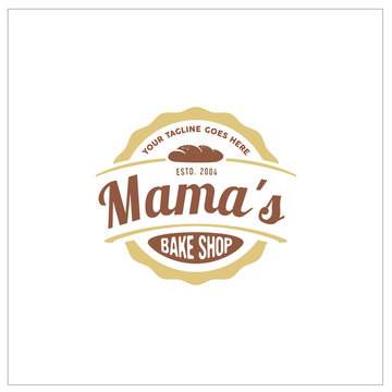 Vintage Retro Bakery / Bake Shop Label Sticker Logo design