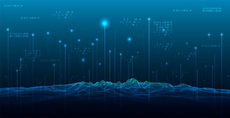Big Data. Abstract digital landscape. Wireframe landscape background.