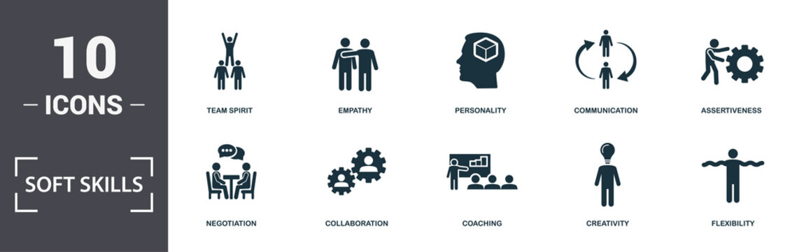 Soft Skills icons set collection. Includes simple elements such as Self-Confidence, Negotiation, Collaboration, Coaching, Creativity, and Nuclear Energy premium icons