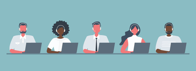 Web banner of call center workers. Young men and women in headphones sitting at the table on a blue background. People icons. Funky flat style. Vector illustration