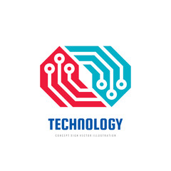 Technology logo design. Abstract electronic computer chip. Concept sign. Network block chain symbol.