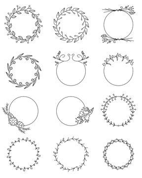 Hand drawn floral round frames set.