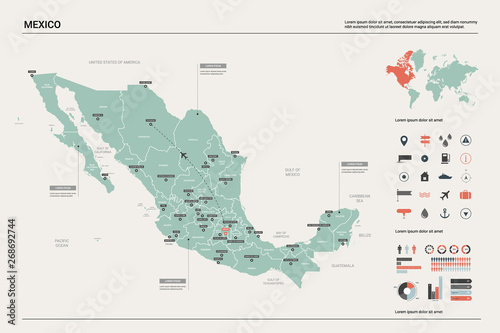 Vector map of Mexico. Country map with division, cities and ...