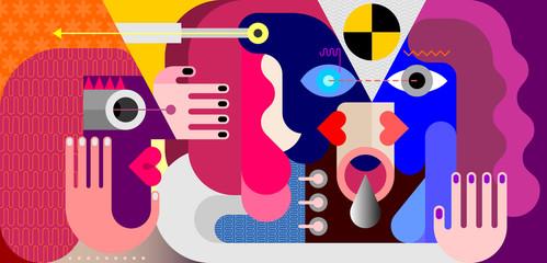 Three People vector illustration