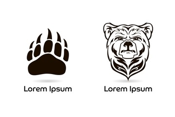 Bear Head Mascot, vector bear logo, Hand drawn maori tattoo style, for emblem, illustration, poster, icon, label, logotype, isolated, on white background.Wild animal silhouette of bear paw with claws