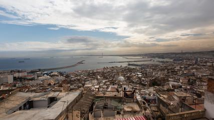 Beautiful aerial panorama skyline view of the Casbah, Algiers City