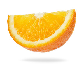 Wall Mural - slice of orange isolated on white background
