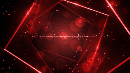 Red virtual abstract background space tunnel with neon line lights. Reality square portal arch tunnel. Spectrum vibrant colors laser show.