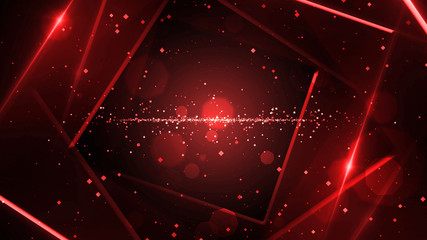 Red virtual abstract background space tunnel with neon line lights. Reality square portal arch tunnel. Spectrum vibrant colors laser show. Wall mural
