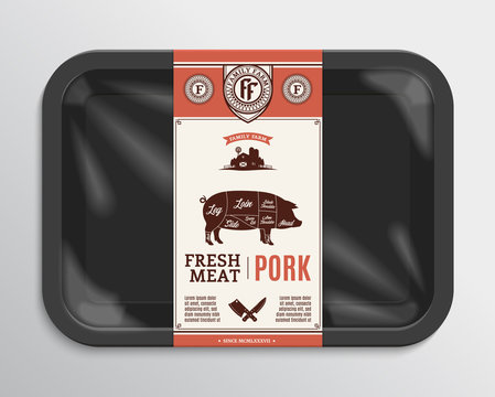 Vector pork packaging illustration
