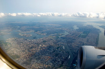 aerial view of New York City out of the airplane window