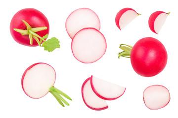 Fototapeta Set of fresh whole and sliced radish isolated on white background. Top view obraz