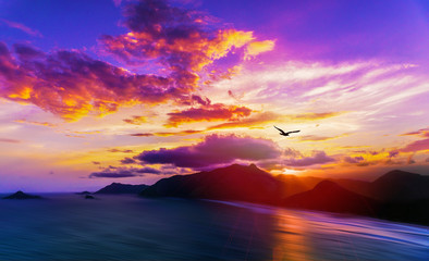 Rio De Janeiro Stunning Colorful Sunset Behind Ocean Mountains With Soft Water and Exotic Islands Landscape Panoramic View