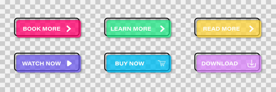 Colorful web buttons set Isolated on transparent background. Call to action buttons; Read More, learn more, buy now, download, watch now, book more colorful button set