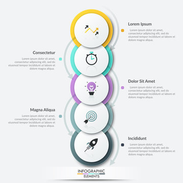 Five overlapped paper white round elements with thin line symbols inside surrounded by arrows and placed into vertical row. Unique infographic design layout. Vector illustration for brochure, report.