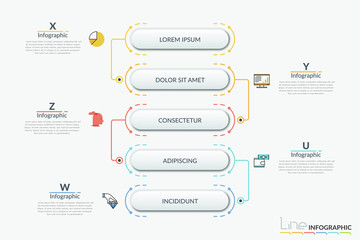 Obraz Vertical flowchart with connected 5 rounded elements. thin line symbols and text boxes. Hierarchical scheme, workflow diagram. Infographic design template. Vector illustration for presentation. - fototapety do salonu