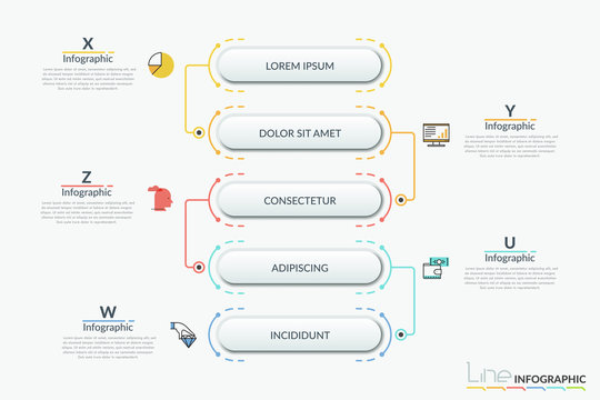 Vertical flowchart with connected 5 rounded elements. thin line symbols and text boxes. Hierarchical scheme, workflow diagram. Infographic design template. Vector illustration for presentation.