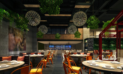 Foto op Canvas Restaurant 3d render of restaurant cafe