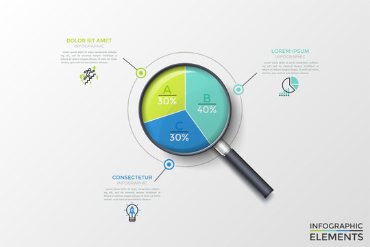 Realistic magnifying glass with round diagram inside divided into 3 colorful sectors with percentage indication and text boxes. Concept of proportion analysis. Vector illustration for presentation.