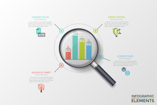Bar chart or graph seen through magnifying glass, thin line symbols and text boxes. Concept of financial profit or earnings comparison. Modern vector illustration for presentation, brochure, report.