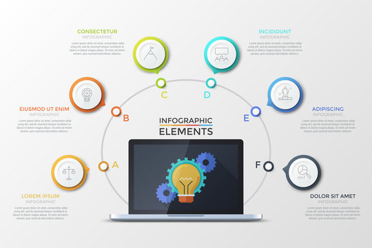 Laptop with light bulb and gear wheels on screen, 6 lettered round colorful elements with thin line symbols inside around it and text boxes. Concept of website menu interface. Vector illustration.