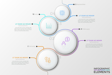 Four white round elements of different size with linear symbols inside, gradient colored line curving around them and date indication. Creative vector illustration for brochure, presentation, report.