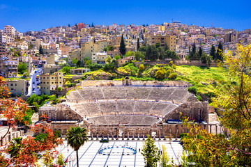 Wall Mural - View of the Roman Theater and the city of Amman, Jordan