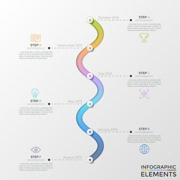 Curved vertical timeline with 6 round elements, month and year indication, thin line icons and text boxes. Modern infographic design template. Creative vector illustration for presentation, brochure.