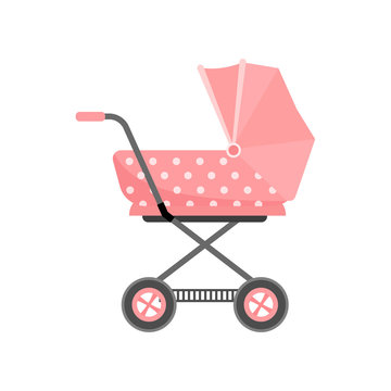 Retro red color baby stroller with dotted textile material