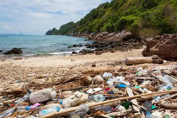 Plastic pollution on a beach on the island Koh Ngai, Thailand