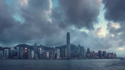 Fototapete - Hong Kong sunset, time lapse