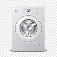 Vector 3d Realistic Modern White Steel Washing Machine Icon Closeup Isolated on Transparent Background. Design Template of Wacher. Front View, Laundry Concept