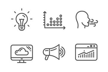 Dot plot, Megaphone and Breathing exercise icons simple set. Idea, Cloud storage and Website statistics signs. Presentation graph, Advertisement. Technology set. Line dot plot icon. Editable stroke