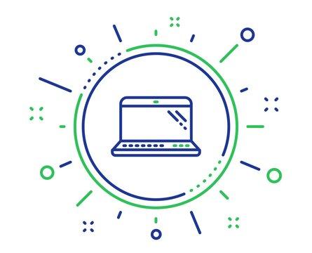 Laptop line icon. Mobile computer device sign. Quality design elements. Technology laptop button. Editable stroke. Vector