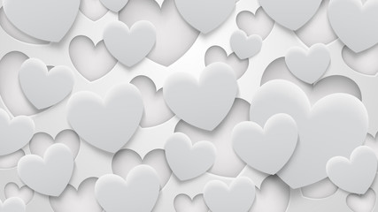 Abstract background of holes and hearts with shadows in white and gray colors