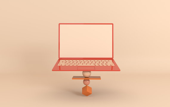 Laptop and different geometric objects mockup background in modern minimal style. Notebook 3d render in pastel colors. Technology gadget concept