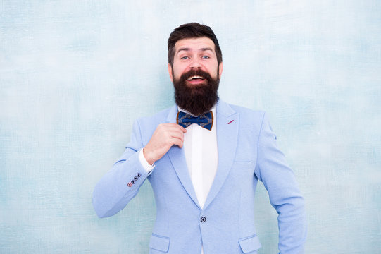 Confident in his style. mature businessman in blue jacket. gentleman go on love date. tuxedo fashion look. bearded man in bow tie. glamour hipster male with beard in bow tie. bride groom at wedding