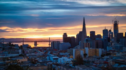 Fototapete - San Francisco Skyline Time-lapse at Sunrise, California, USA