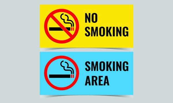 Vector illustration of no smoking and smoking area signage