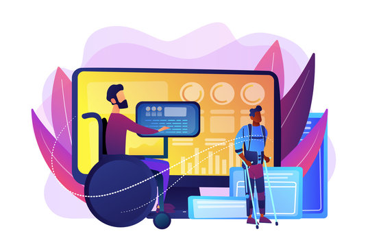 Handicapped man in wheelchair. Injured character rehabilitation. Assistive technology, devices for disabled people, adopted technologies concept. Bright vibrant violet vector isolated illustration