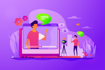 Cartoon blogger streaming online outdoors. Male influencer shooting video tutorial. Video blog, vlog popularity, video blog monetization concept. Vector isolated concept creative illustration