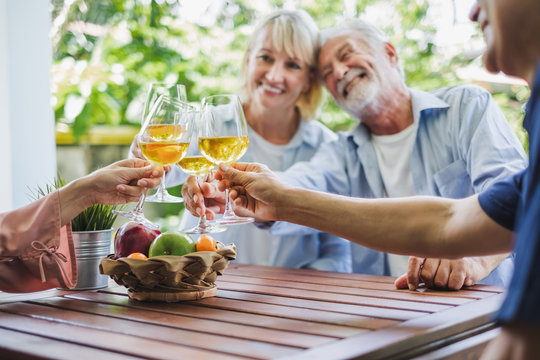 Group of senior enjoy party at home, drinking white wine, sing songs to relax